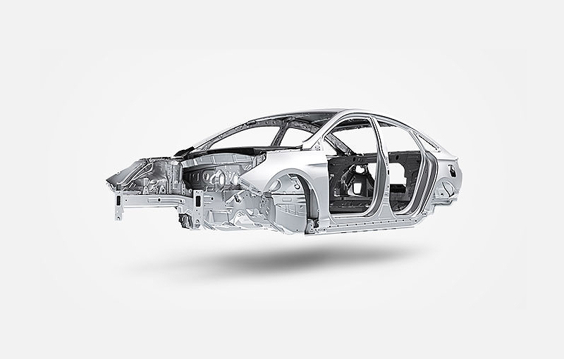 Image of inner body structure of automobile with its upper part of outer frame in a white background