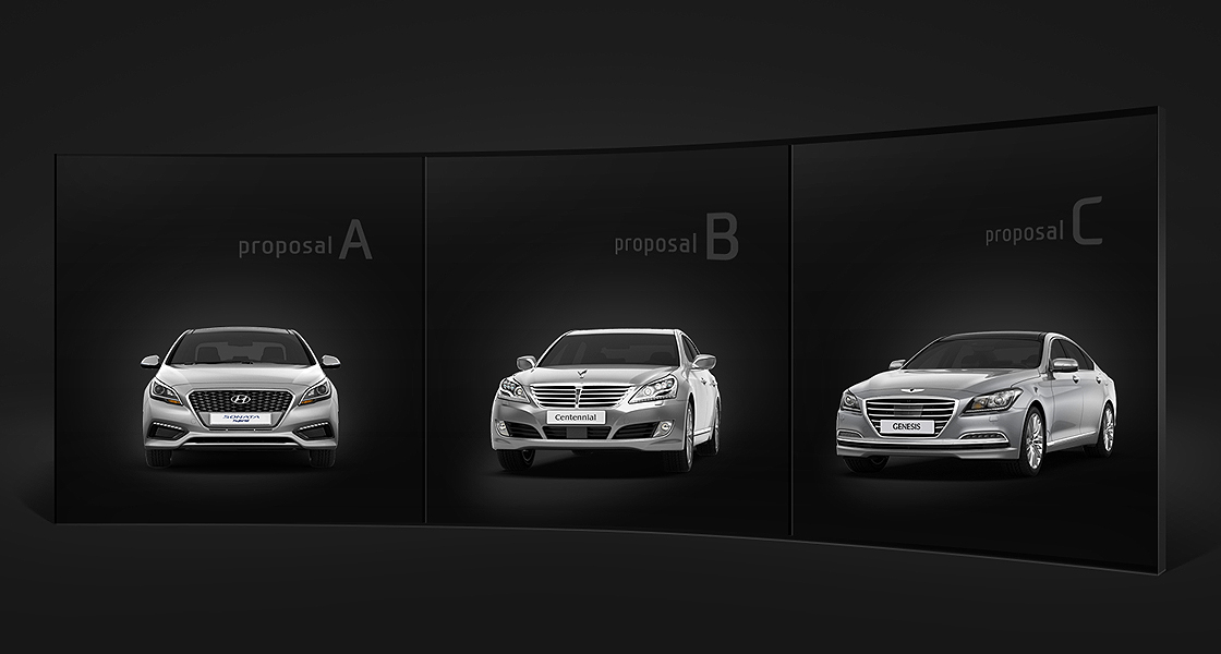 Three 3D rendering images of a each car labeled A, B, and C,  is presented to be selected on a screen in a black background