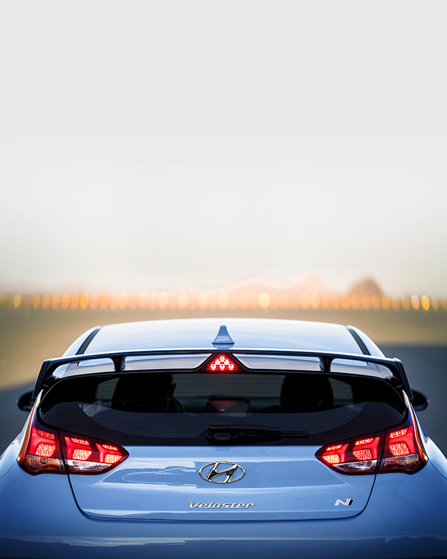 rear view of blue veloster n