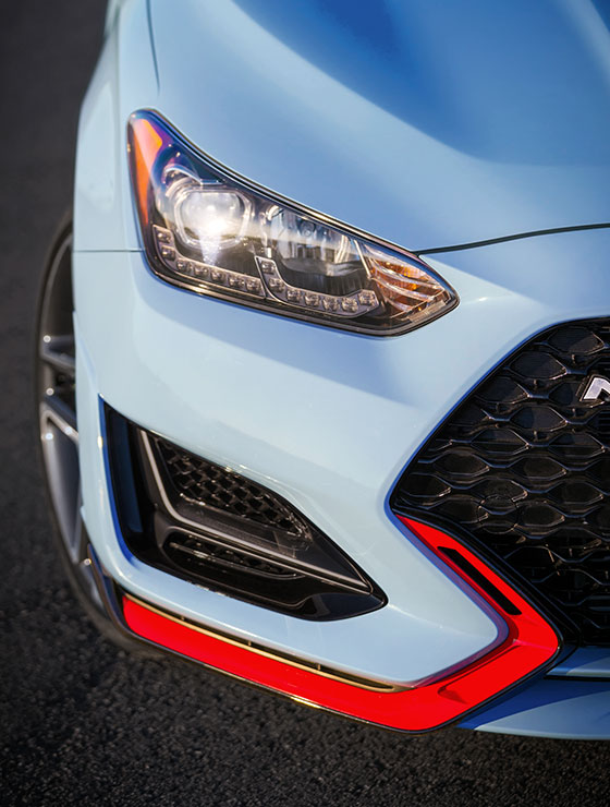 right side front view of blue veloster n