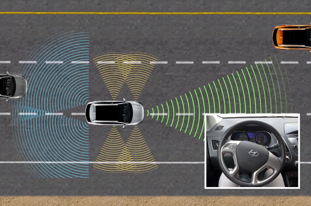 A car is changing lane to the last lane automatically through motor-driven power steering.