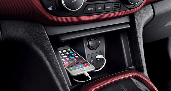 Phone place in the center console storage and getting charged