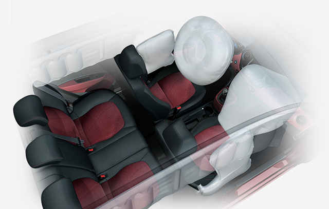Sky view of full interior space with front air bags simulated