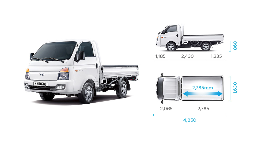 H-100's side and top view illustration with those size describing long wheel base standard cab(high type rear deck)
