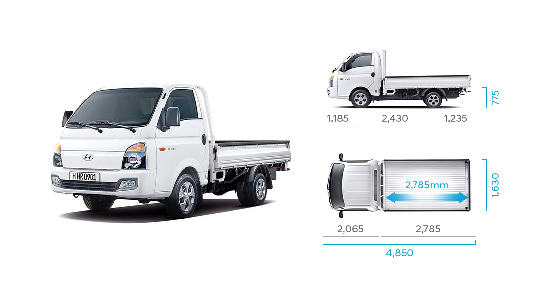 H-100's side and top view illustration with those size describing long wheel base standard cab(low type rear deck)