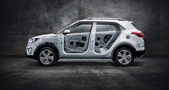 Side view of white Creta made of ultra high strength steel