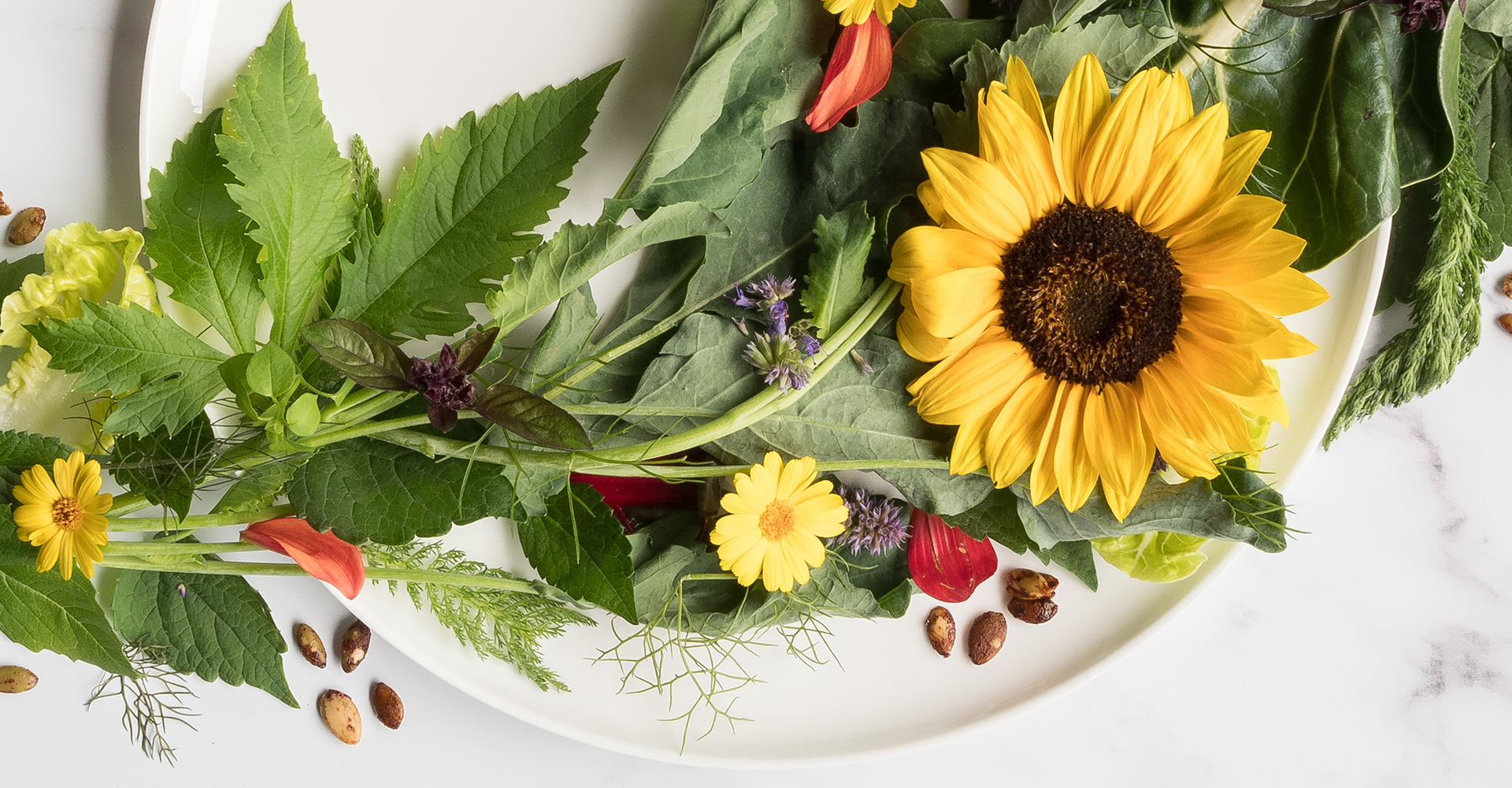 flowers on the plate