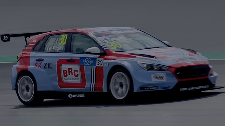 i30 n tcr is running on a race track