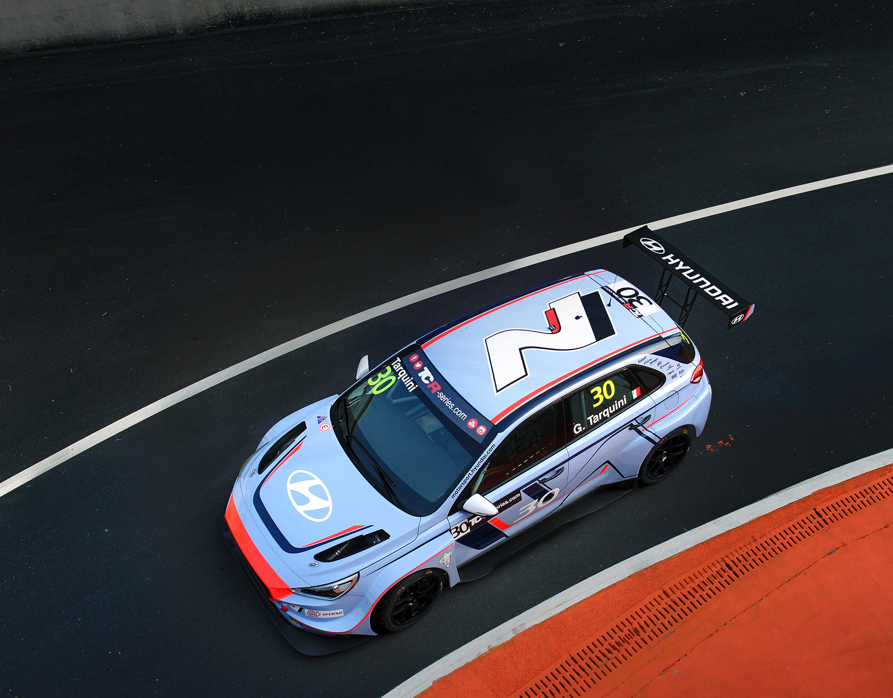 overlook of i30 N TCR is running on racing track