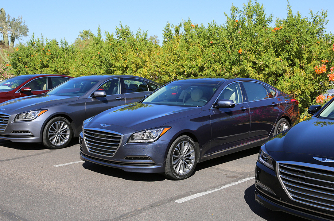 Left side-front view of genesis lined up at the test drive parking